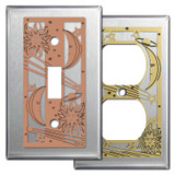 Stainless Steel Switch Plates with Sun, Moon & Stars