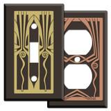 Decorative Retro Art Deco Switch Plates - Black