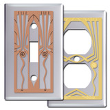 Retro Art Deco Switch Plate Covers in Chrome