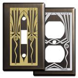 Bronze Retro Art Deco Light Switch Plates