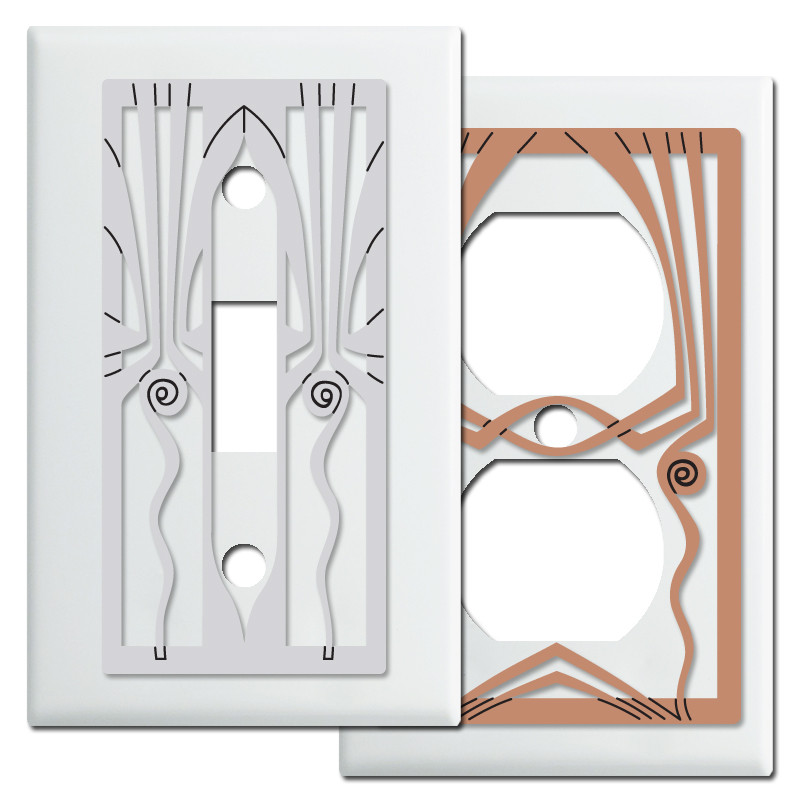 Retro Art Deco Style Light Switch Covers In White Kyle Design