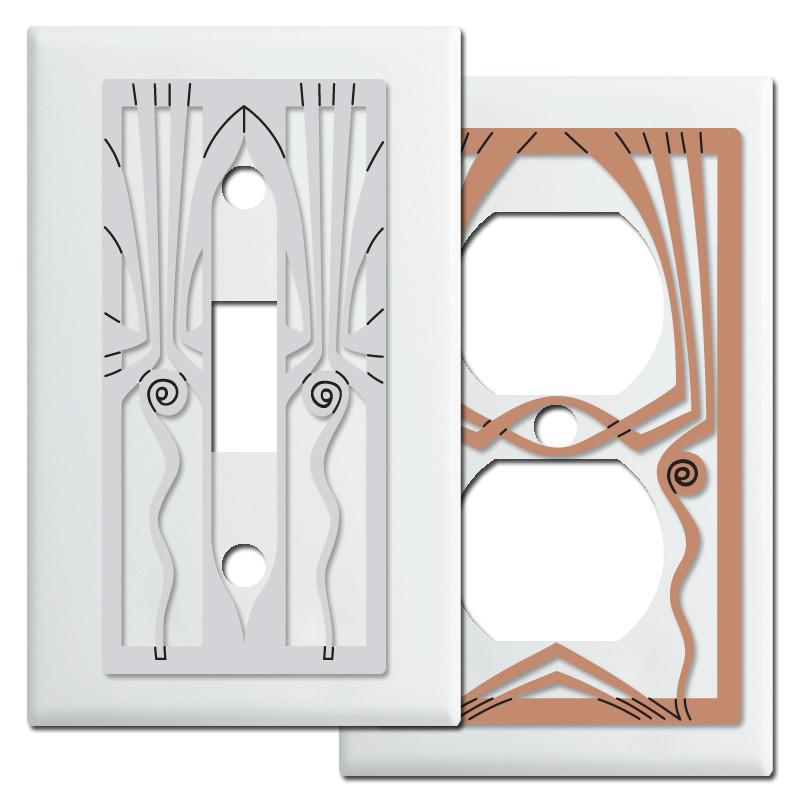 white retro art deco decorative switch plates - Decorative Switch Plates