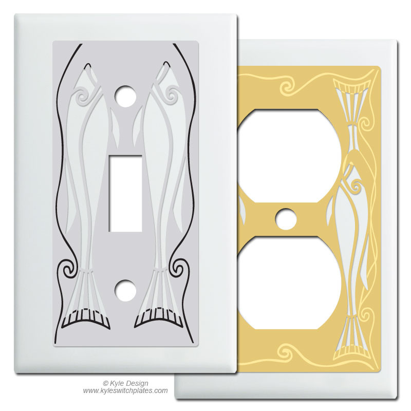 Fish Decorative Light Switch Plates In White