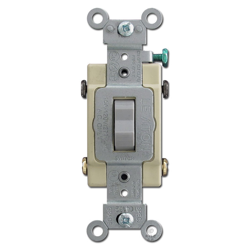 Gray 4 Way Toggle Switches Leviton CS415-GRY | Kyle Switch Plates