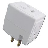 White Leviton Triple Outlet Cube Adapter