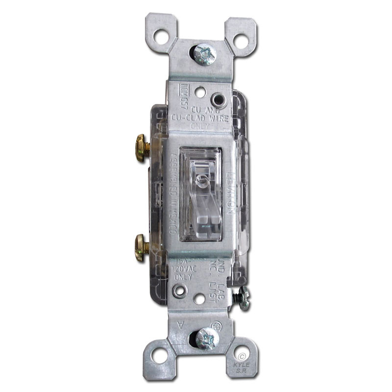 Clear Toggle Light Switch Lighted Handle Leviton 15A