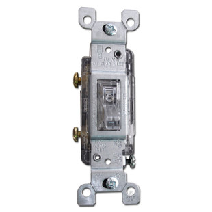 15A Leviton Clear Lighted Toggle Light Switch