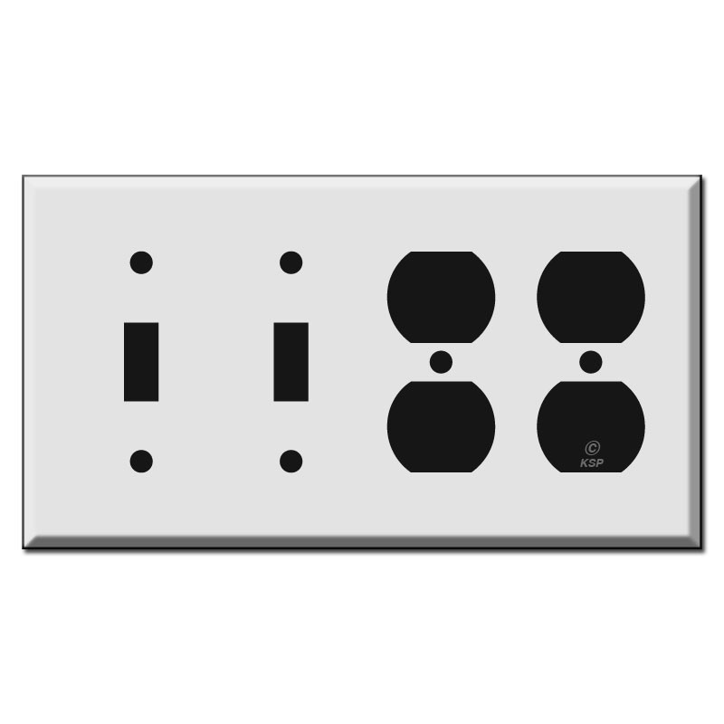 Toggle 2 Duplex Outlet Combo Light Switch Wall Plates