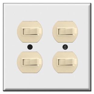 Double Gang 4 Horizontal Toggle Light Switch Plates