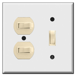 Vertical Horizontal 3 Toggle Combo Wall Switch Plates