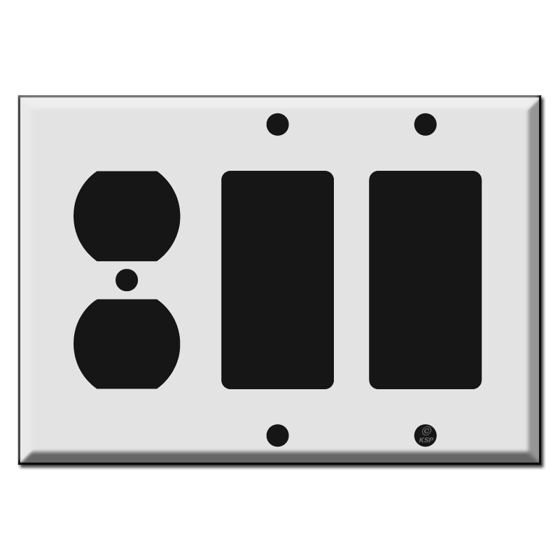 1 Duplex Receptacle - 2 GFCI Decora Rocker Combo Switch Plates