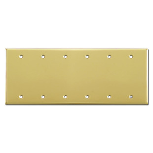 6 Gang Blank Wall Plate Cover - Polished Brass