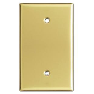 Oversized Single Gang Blank Wall Plate - Polished Brass