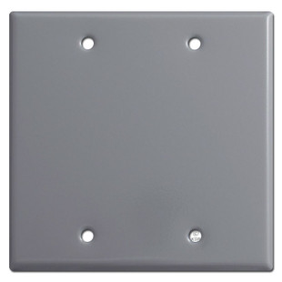 Two Gang Blank Wall Plate Cover - Grey