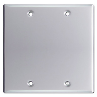 2 Blank Switch Plate Cover - Polished Chrome
