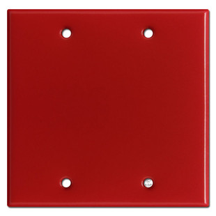 2 Gang Blank Electrical Switch Plate Covers - Red