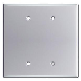 Oversized Double Blank Jumbo Wall Switch Plate - Polished Chrome