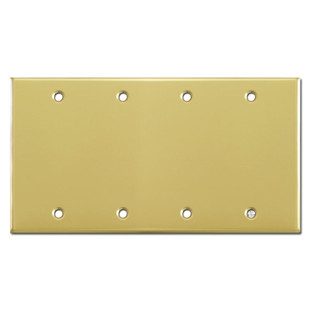 4 Blank Switch Plate Covers - Polished Brass