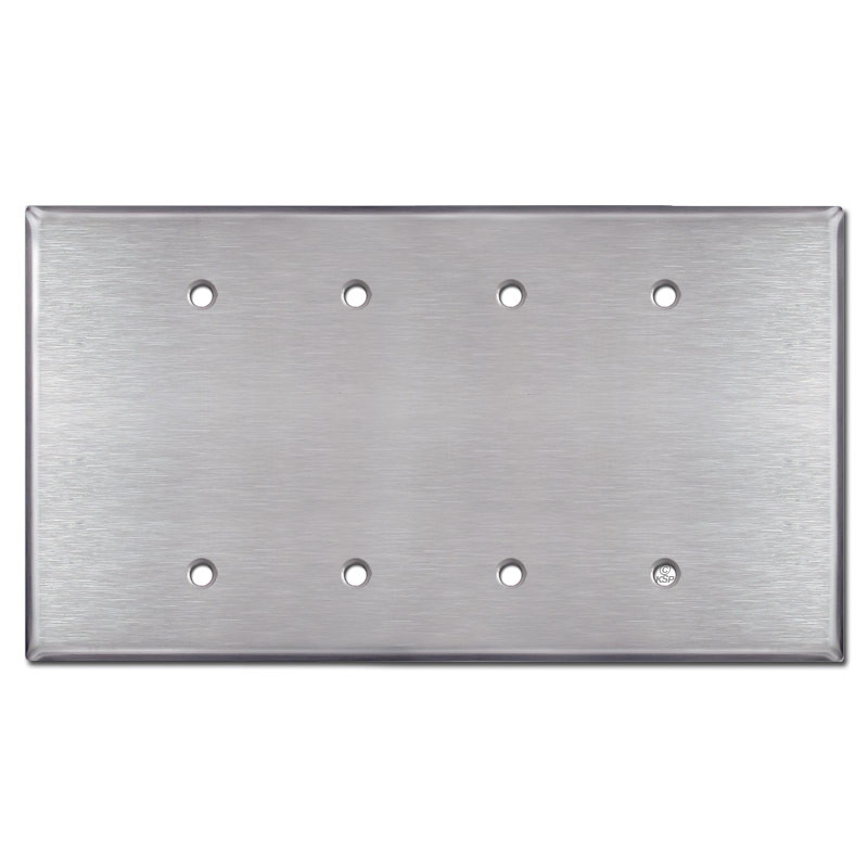 Oversized four gang blank wall plate cover satin for Four blank walls