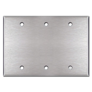 3 Gang Blank Wall Plate - 302 Spec Grade Stainless Steel