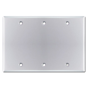Triple Blank Light Switch Plate - Polished Chrome