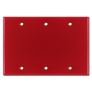 3 Gang Blank Wall Plate - Red