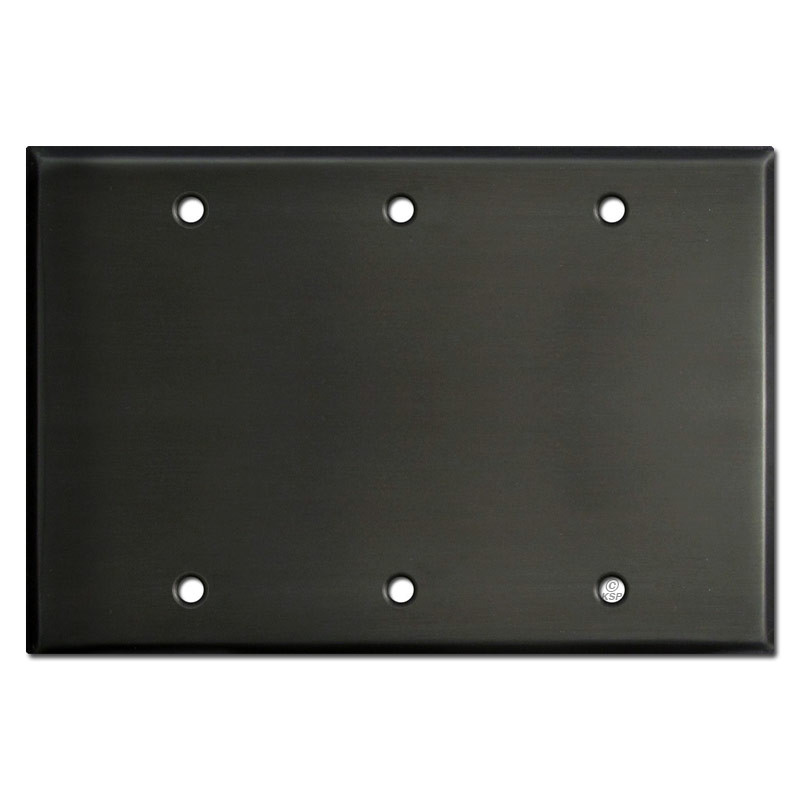 electrical cover plates. 3 Blank Electrical Cover Plates - Dark Bronze O