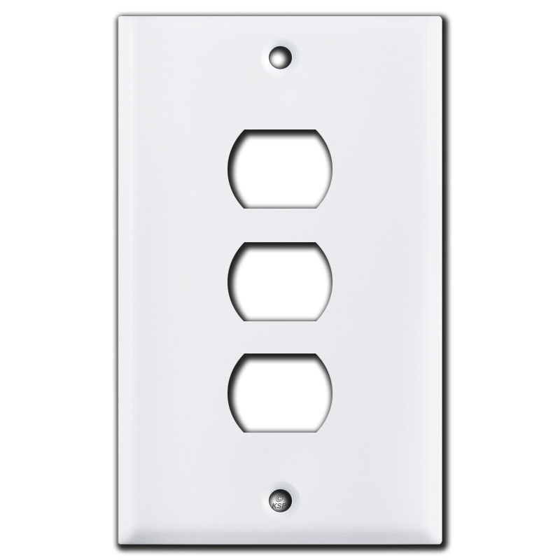 Three Hole Stacked Despard Switch Plate Covers - White