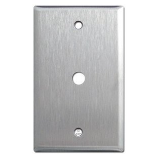 "Spec Grade Stainless Steel Cable Wall Plate  3/8"" Opening"