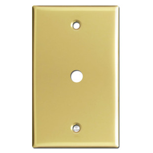 "Cable TV Jack Switch Plates with 3/8"" Opening - Polished Brass"