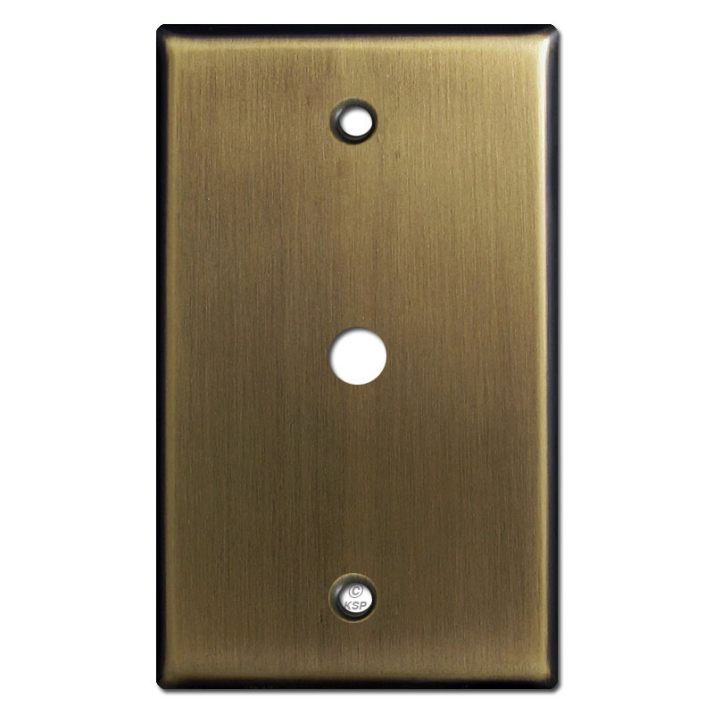 cable wall plate for 3 8 tv or internet jack antique brass. Black Bedroom Furniture Sets. Home Design Ideas