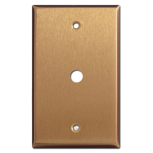"""Cable TV Connector Wall Plate with 3/8"""" Opening - Satin Bronze"""