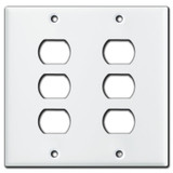 2 Gang 3 Despard Switch Plate Covers for 6 Despard Switches - White