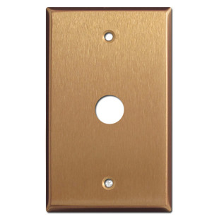 "5/8"" Phone Cable Outlet Cover Plate - Satin Bronze"