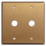 "Double .625"" Openings Phone Cable Outlet Covers - Satin Bronze"