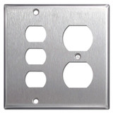3 Stacked Despard Switch 1 Duplex Outlet Covers - Stainless Steel