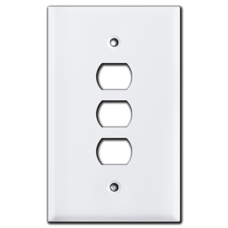 Oversized 3 Despard Stacked Light Switch Plate Covers White