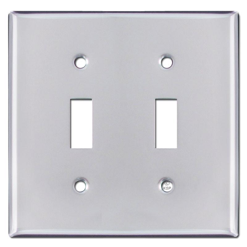 2 toggle light switch cover polished chrome kyle. Black Bedroom Furniture Sets. Home Design Ideas