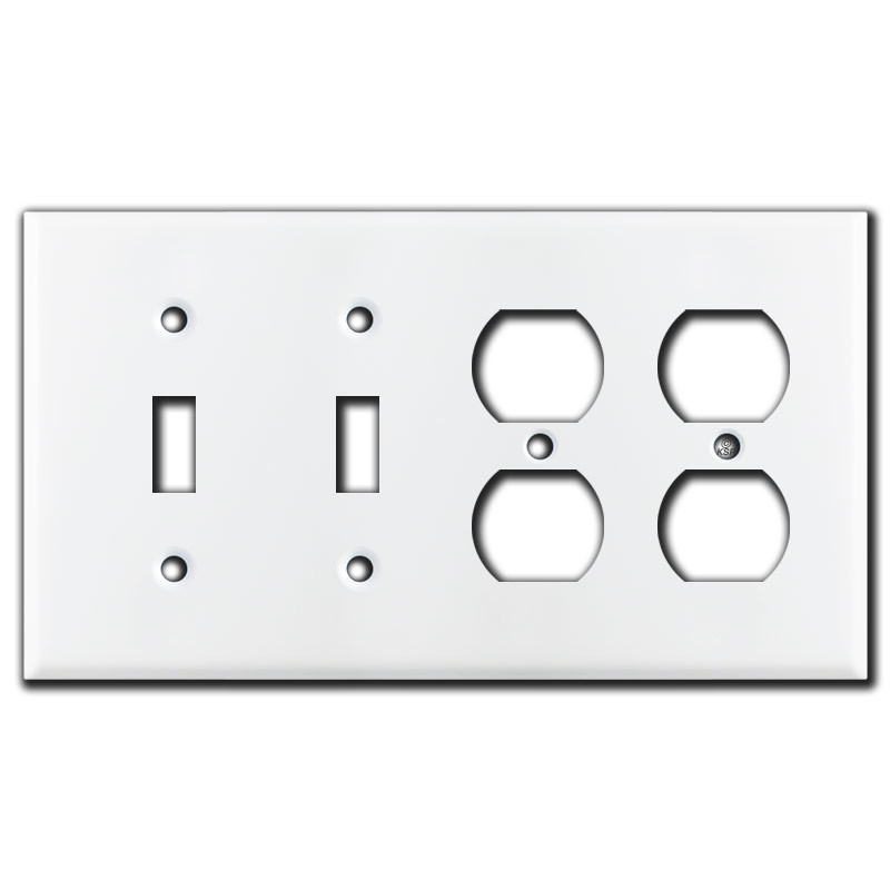 2 Toggle 2 Duplex Outlet 4 Gang Light Switch Wall Plates White