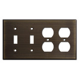 2 Toggle 2 Outlet Combo Light Switch Wall Plates - Oil Rubbed Bronze