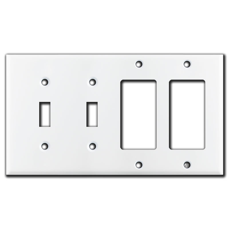 2 Toggle Amp 2 Decora Rocker Switch 4 Gang Wall Plate White