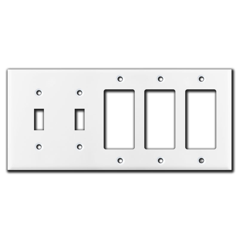 2 toggle 3 decora rocker switch 5 gang wall plate covers white