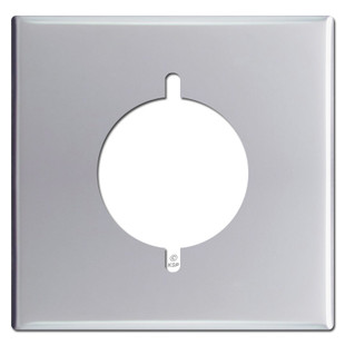 """Double 2.125"""" Range or Dryer Outlet Cover Plate - Polished Chrome"""