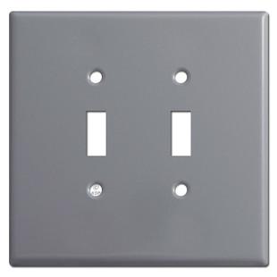Jumbo Double Toggle Light Switch Plates - Grey