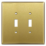 Oversized 2 Toggle Light Switch Covers - Satin Brass