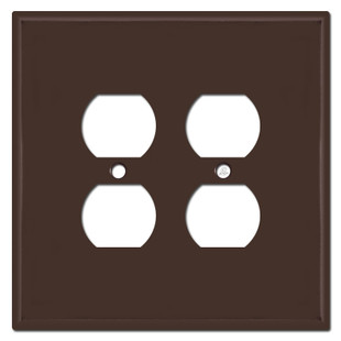 Oversized Double Duplex Outlet Switch Plates for 4 Plugs - Brown