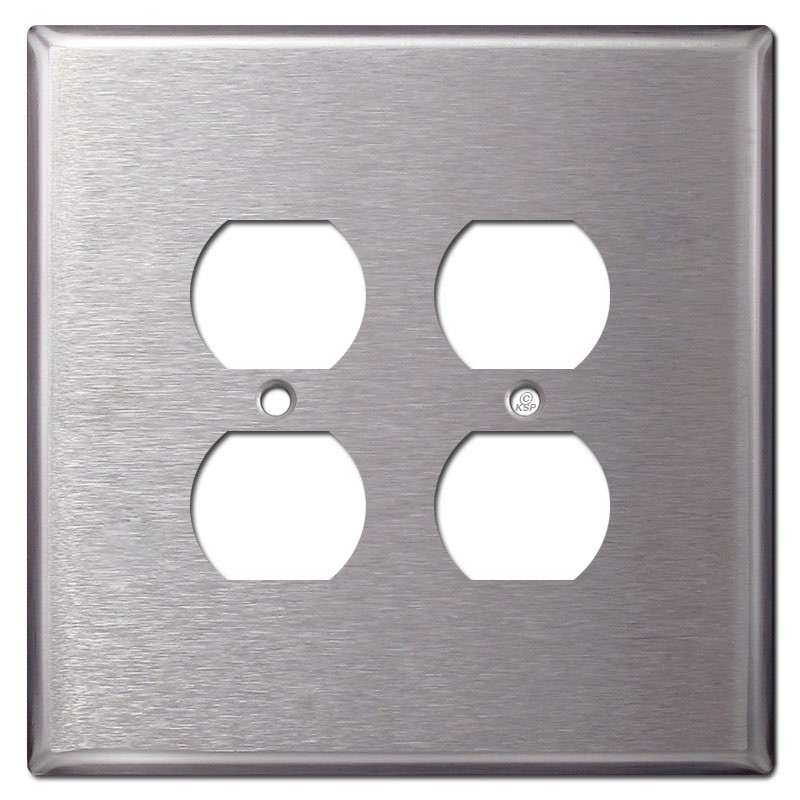 Jumbo 2 Gang 4 Plug Outlet Covers Spec Grade Stainless Steel