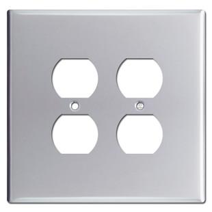 Jumbo Double Gang 4 Outlet Plug Switch Plates - Polished Chrome