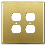 Oversized 2 Duplex Outlet Covers for 4 Sockets - Satin Brass