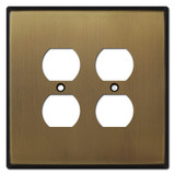 Oversized Double Duplex Outlet Covers for 4 Plugs - Antique Brass